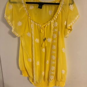 Torrid yellow off shoulder blouse